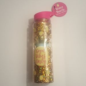 Good Vibes Only Pink Yellow Gold Water Bottle